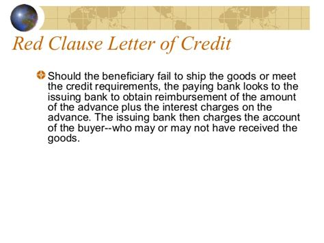 Letter Of Credit Clause Letter Of Credit