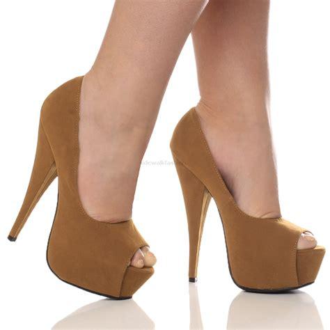 High Heels Sn320 B womens platform pumps stiletto high heel peep toe court shoes size ebay