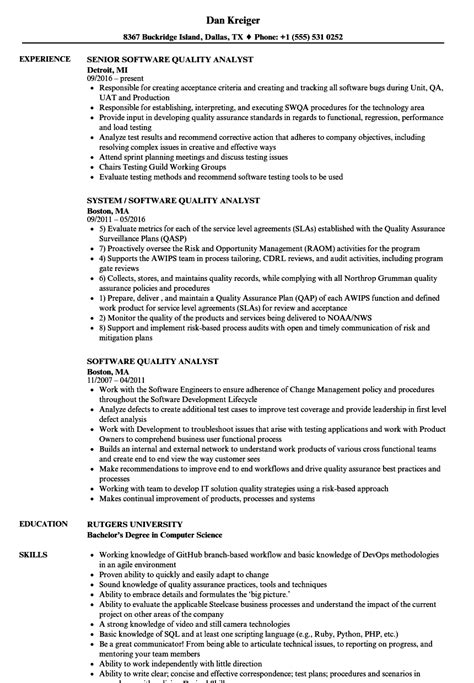 sle qa analyst resume 28 images application letter sle