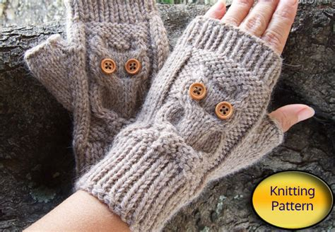 owl knit fingerless mittens pdf pattern owl cable knit owl knit fingerless mittens pdf pattern owl cable knit
