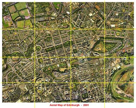 maps view aerial view of edinburgh 2001 with grid
