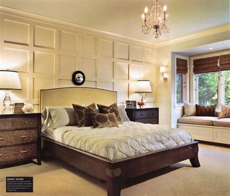transitional style bedroom in brown with blue a bold wall trim master bedroom lake house casual elegance