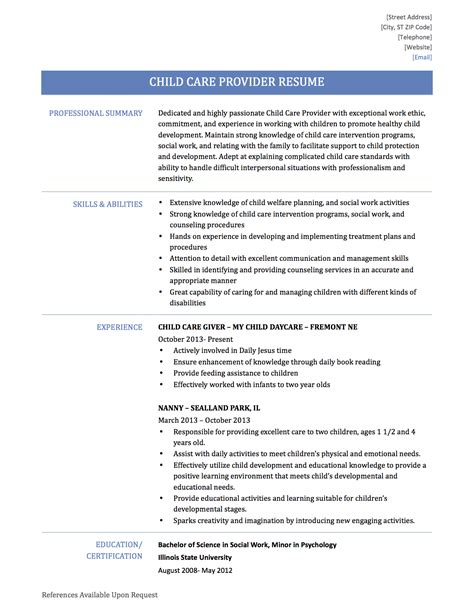 Resume For Child Care by Home Child Care Provider Resume Resume Ideas