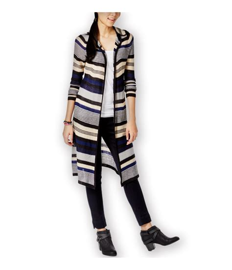 Striped Sweater Cardigan planet gold womens striped hooded cardigan sweater ebay