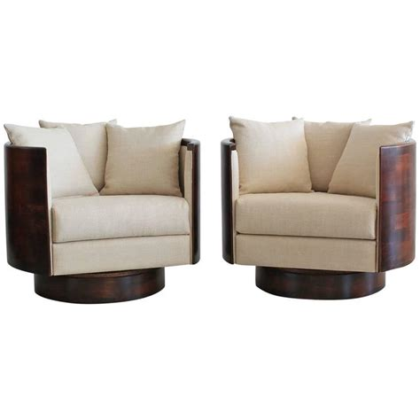 Hancock Barrel Back Swivel Chairs For Sale At 1stdibs Swivel Barrel Chairs