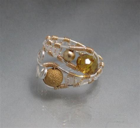 handmade wire wrap gold  silver ring wire wrapped colored