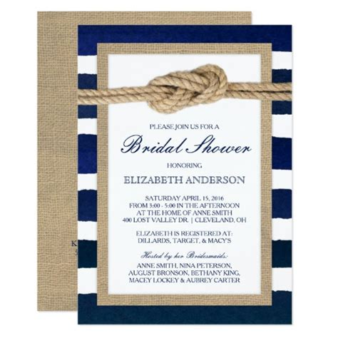 Nautical Knot Navy Stripes Rustic Bridal Shower Card Zazzle Com Nautical Bridal Shower Invitation Template
