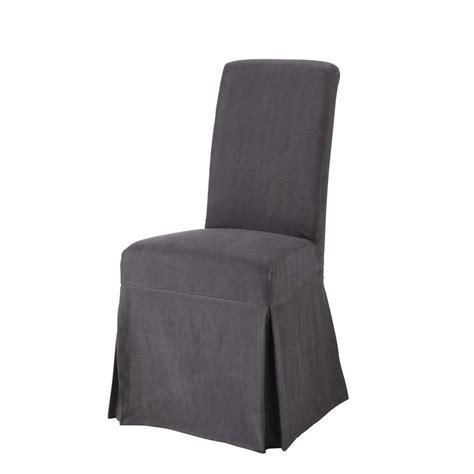 fodera per sedia fodera lunga color antracite in lino slavato per sedia