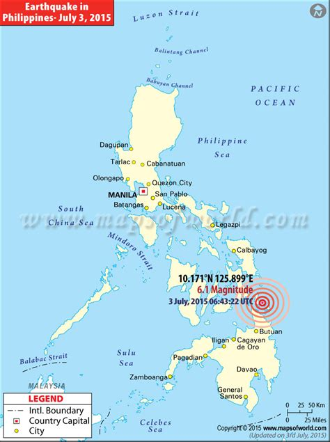 philippines earthquake map places affected  earthquake