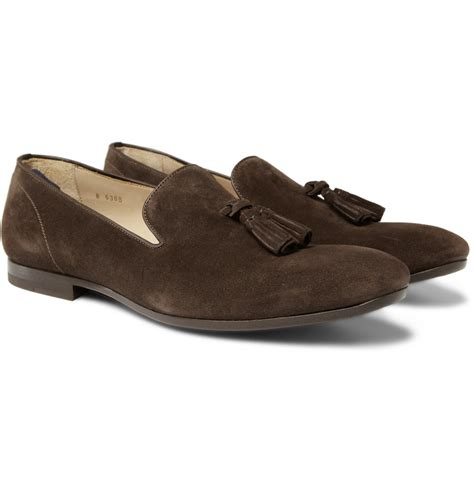 mcqueen loafers mcqueen suede tassel loafers in brown for lyst