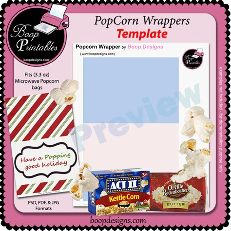 popcorn wrapper template free popcorn microwave wrapper template by boop printables