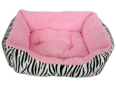 pink cat bed soft pet bed zebra print dog cat puppy kitten soft fleece