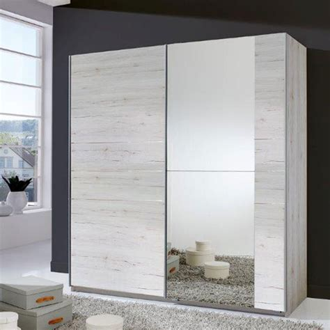 White Sliding Door Wardrobes Uk by Sliding Wardrobe In White Oak With Mirrored Door