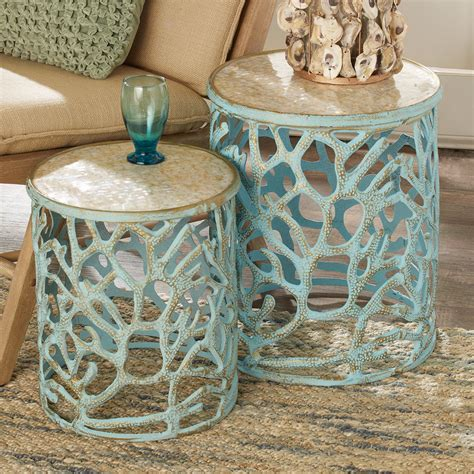 of pearl table of pearl coral accent tables shades of light