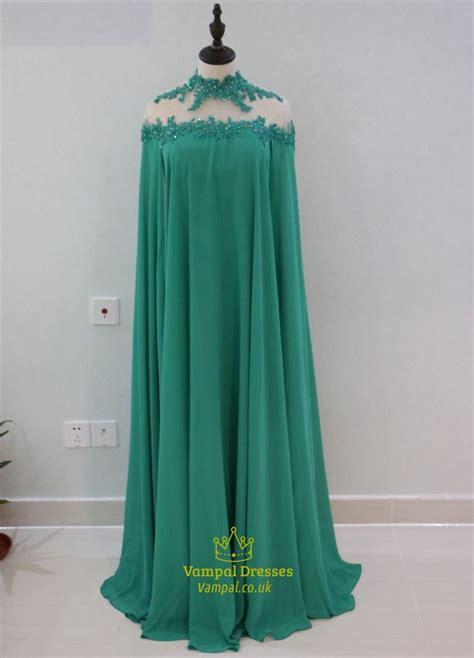 Emerald Green  Ee  High Ee    Ee  Neck Ee  Oor Length Chiffon Evening  Ee  Dress Ee