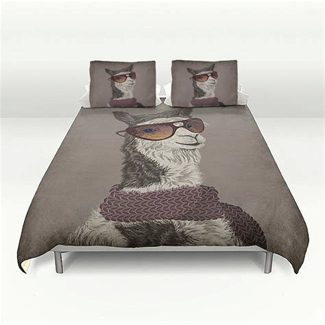 hipster comforter sets bedding hipster llama duvet cover set soft brown or gray