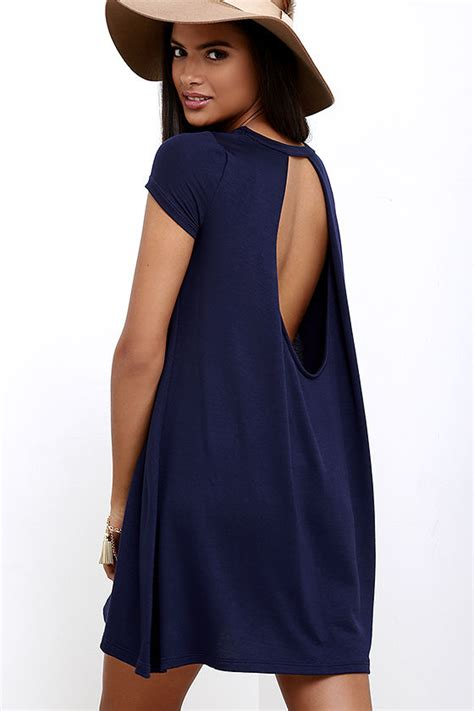 navy blue swing dress cute navy blue dress swing dress open back dress 34 00