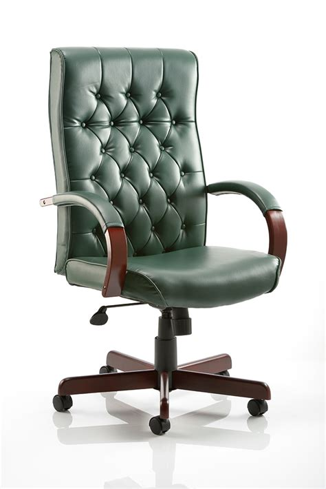 green desk chair chesterfield leather faced traditional antique style