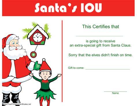 christmas iou certificate  christmas iou printable certificate christmas pinterest
