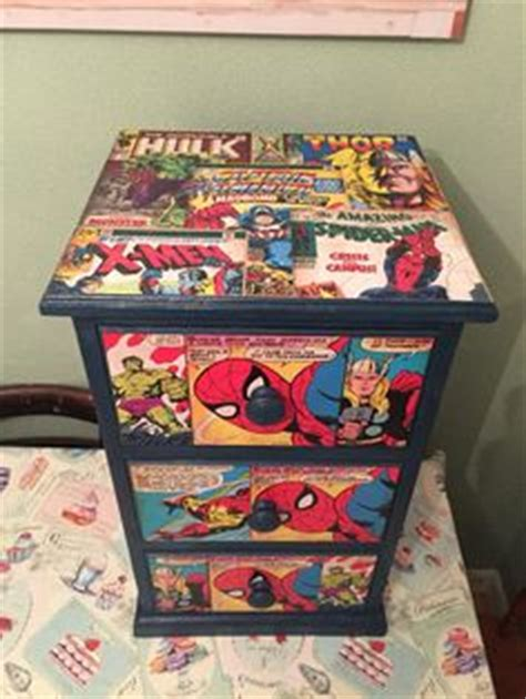 marvel heroes bedroom ideas upcycled chest of drawers with marvel comic decoupage