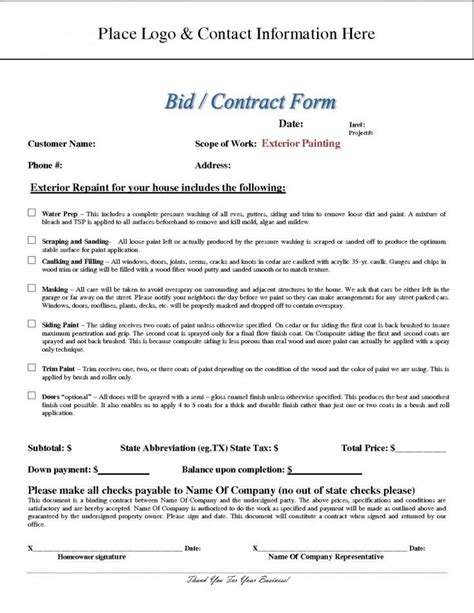 Painting Contract Template Images Template Design Ideas Painting Contract Template Free