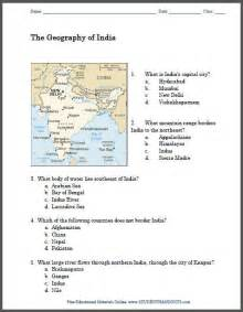 geography of india printable map worksheet student