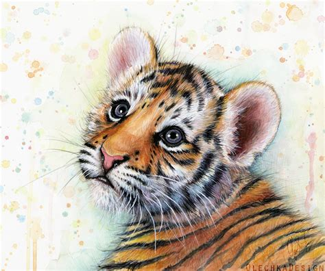 tiger cub watercolor baby animals by olechka01 on deviantart