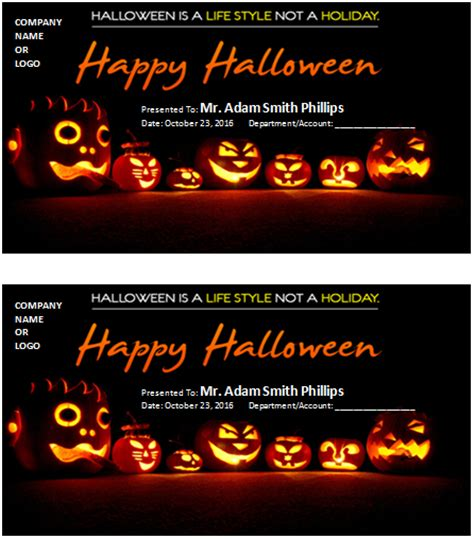 ms word halloween gift certificate templates word