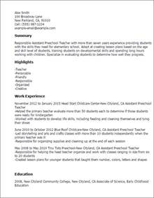 Preschool Resume Objective Exles by Professional Preschool Resume Recentresumes