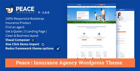 themeforest insurance theme peace insurance agency wordpress theme by oceanthemes