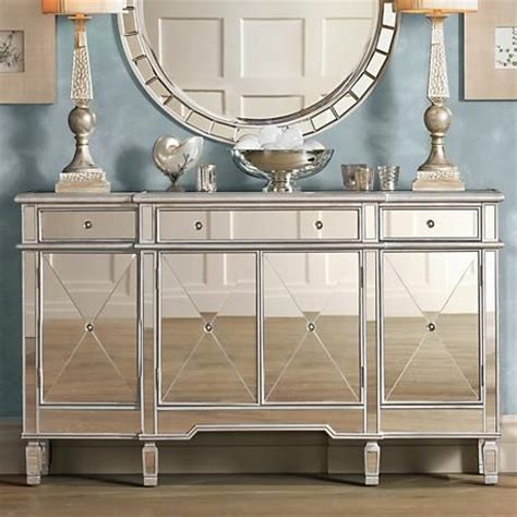 mirror console this wide mirrored console chest will make a dazzling