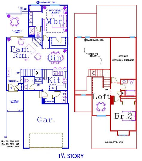 Floor Plans For One And A Half Story Homes Three Story House Plans With Bat