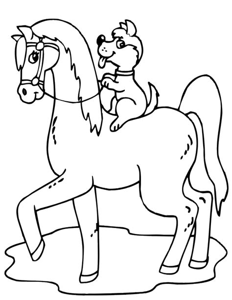 coloring pages of horses and puppies horse coloring page dog riding horse