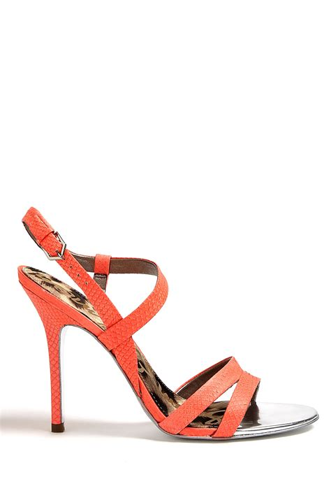 coral sandals sam edelman neon coral abbott snake sandals in orange