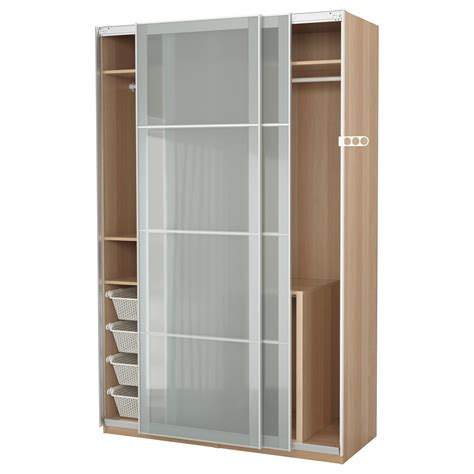 Armoire Pax by Pax Wardrobe White Stained Oak Effect Sekken Frosted Glass
