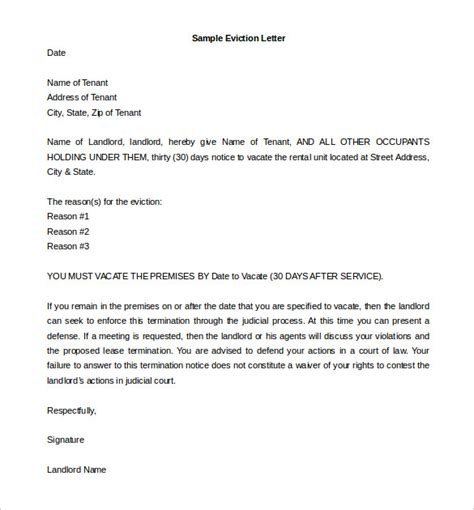 5 Eviction Letter Templates Free Sle Exle Format Download Free Premium Templates Landlord Eviction Letter Template