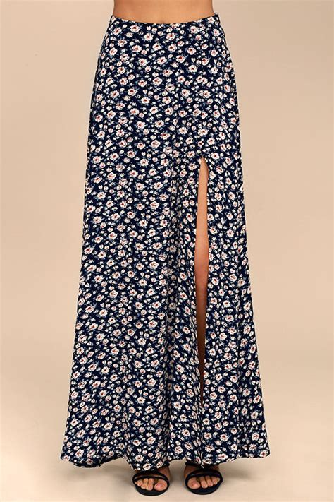 lovely navy blue skirt floral print maxi skirt side
