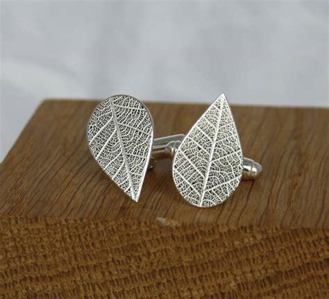 Handmade Silver - handmade silver leaf imprint cufflinks by caroline cowen
