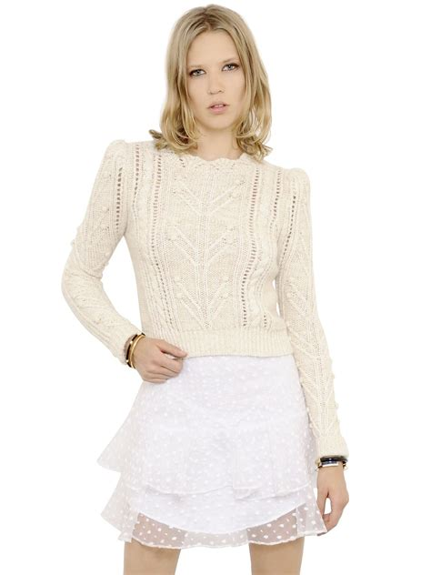cropped cable knit sweater marant cropped wool blend cable knit sweater in