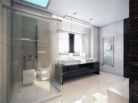 modern white walnut bathroom with shower glass ideas