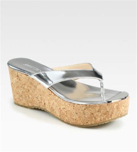silver cork wedge sandals jimmy choo pathos metallic leather cork wedge sandals in