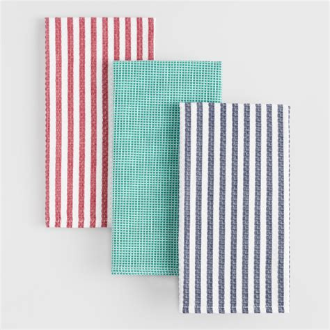 Waffle Weave Kitchen Towels by Waffle Weave Kitchen Towels Set Of 3 World Market