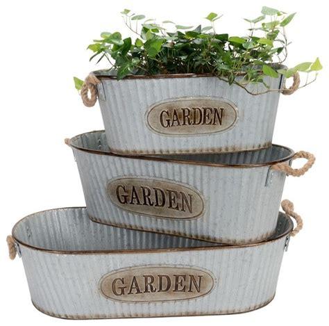 Tin Planters by Tin Oval Garden Planters Set Of 3 Farmhouse Outdoor