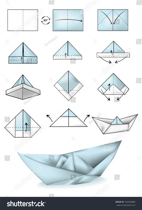 How To Make A Ship Out Of Paper - paper boat illustration tutorial stock vector
