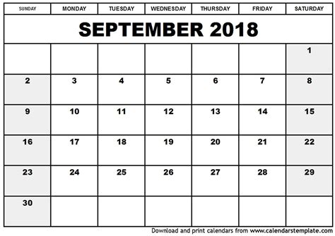 printable calendar for 2018 with holidays september 2018 calendar printable with holidays