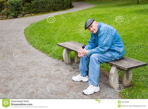 sitting park bench elderly man sitting on park bench royalty free stock