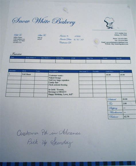 Cake Order Receipt Template by Penguin Thoughts The Curious Of The Cake