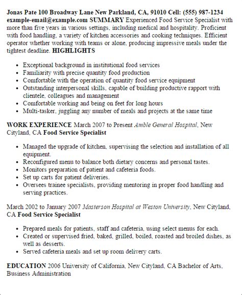 Food Service Specialist Cover Letter by Food Restaurant Resume Server Service