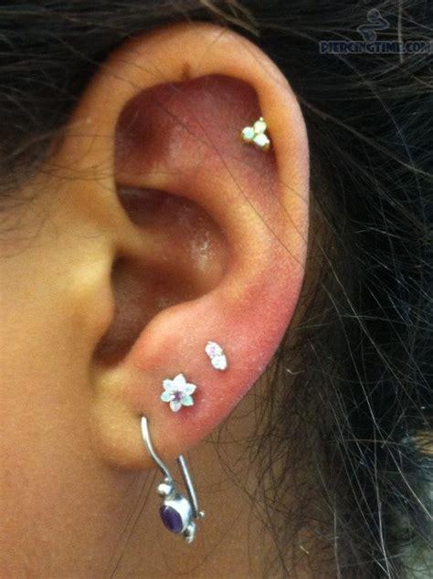 helix and ear lobe piercings