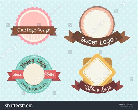 cute sweet pastel vintage premium logo stock vector